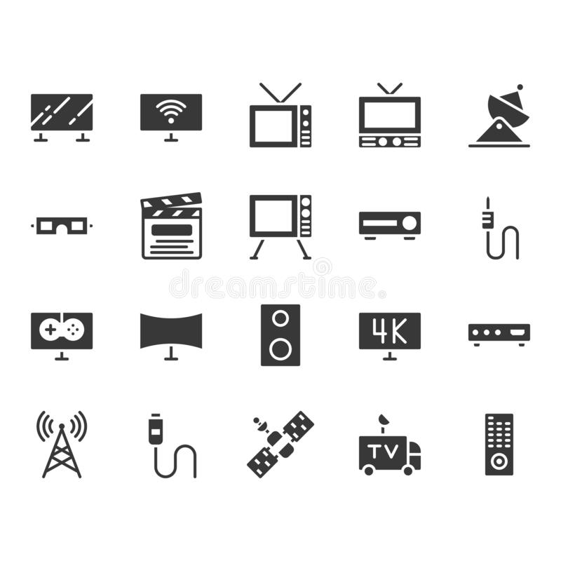 Television related icon set. Vector illustration royalty free illustration
