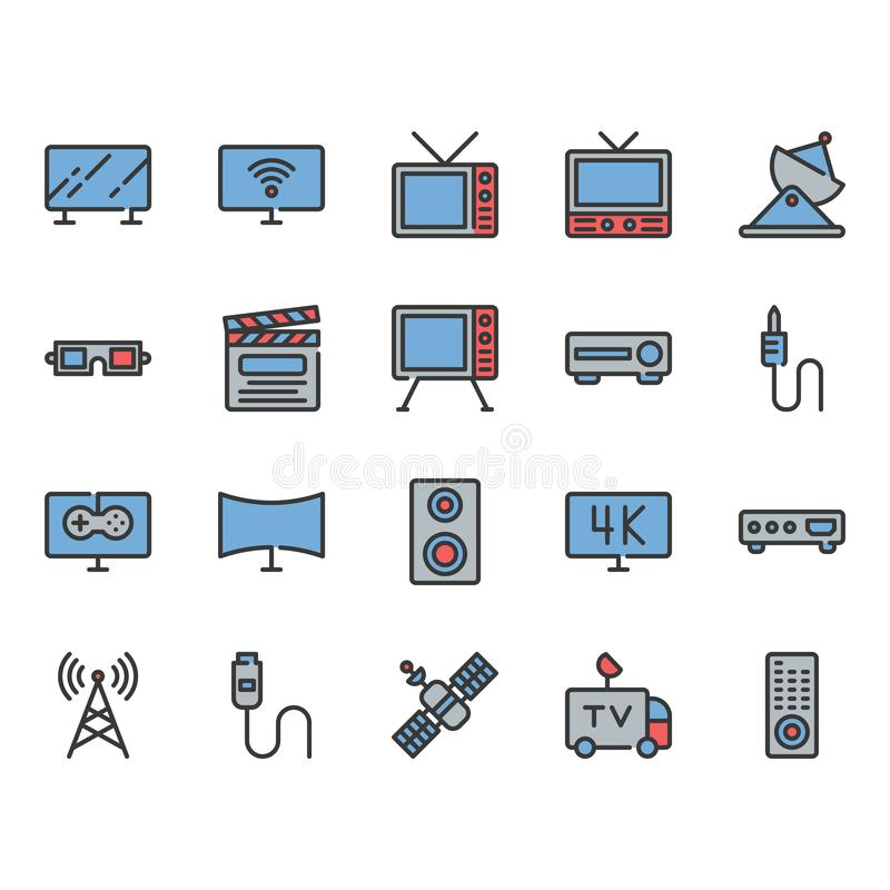 Television related icon set. Vector illustration stock illustration