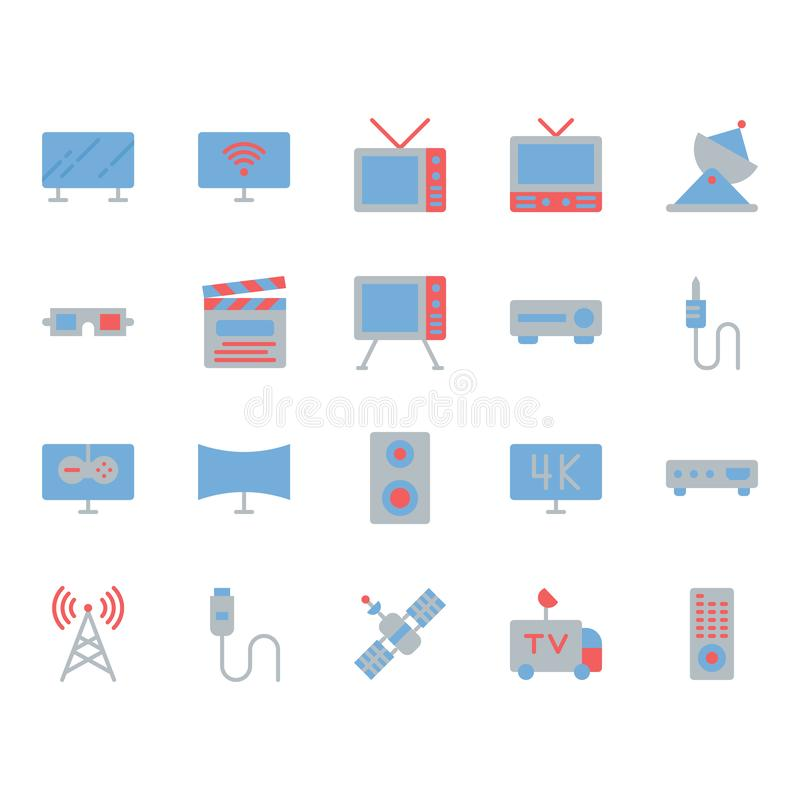 Television related icon set. Vector illustration vector illustration