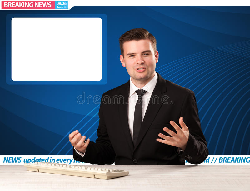Television reporter telling breaking news at his studio desk wit. H copy space concept stock photos
