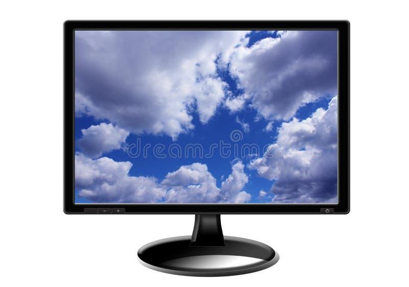 Television set isolated on white background. Television set with picture of blue sky isolated on white background royalty free stock image