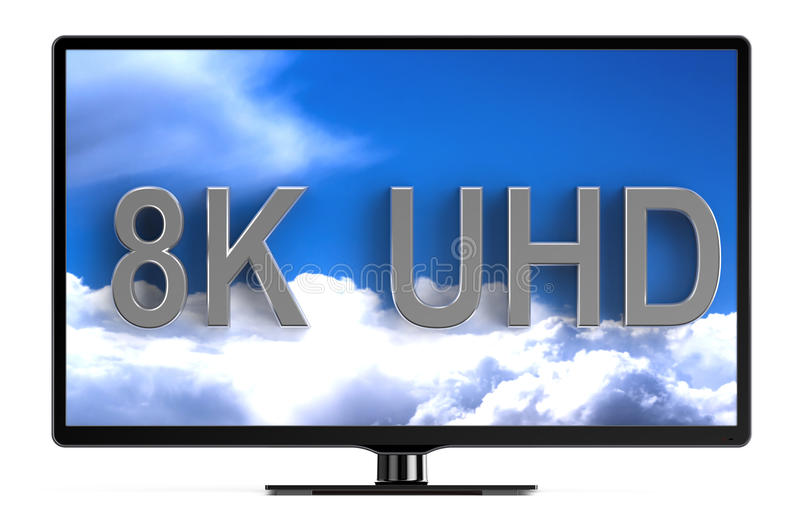 Television set with 8K UHD stock illustration