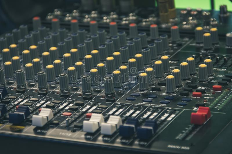 Television set professional audio mixer. Mixing desk, sound board royalty free stock photography