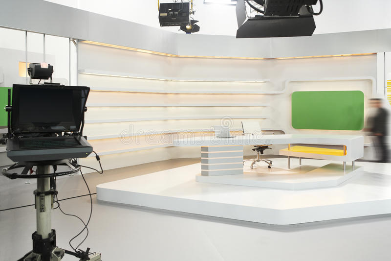 Television set. Professional modern television set for news with studio equipment stock image