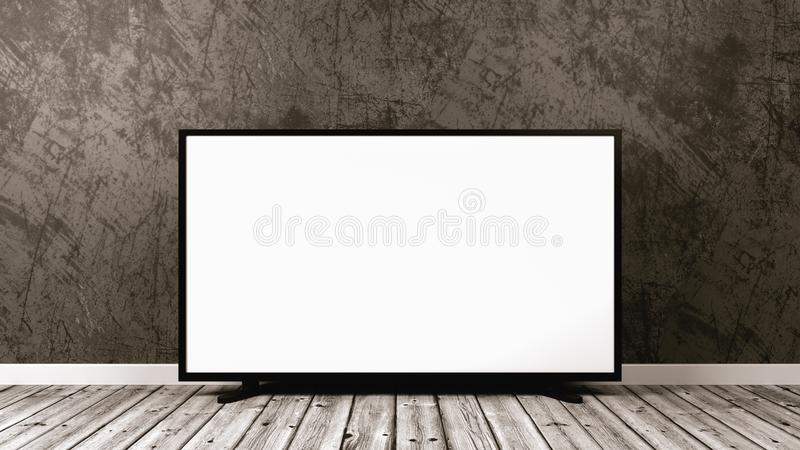 Television Set on Wooden Floor royalty free illustration