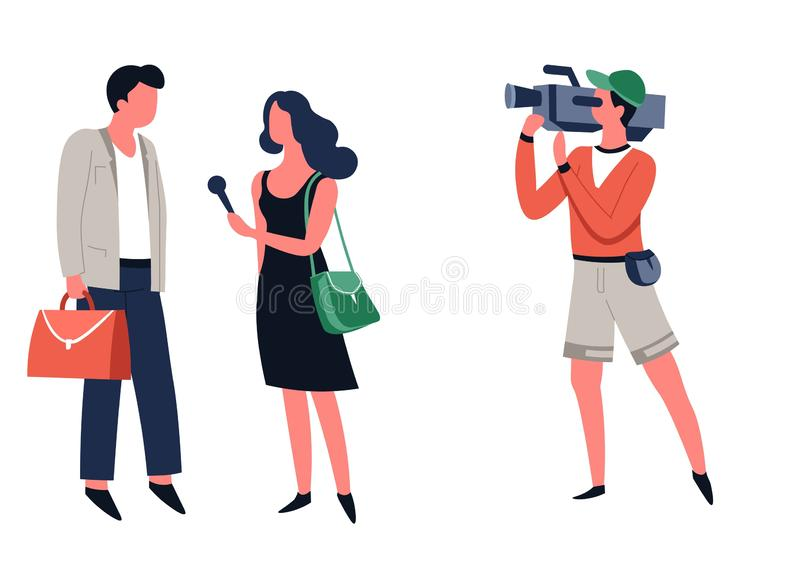 Television show interview journalist with microphone passer-by and cameraman. Journalist and operator interview television program or news filming vector TV host royalty free illustration