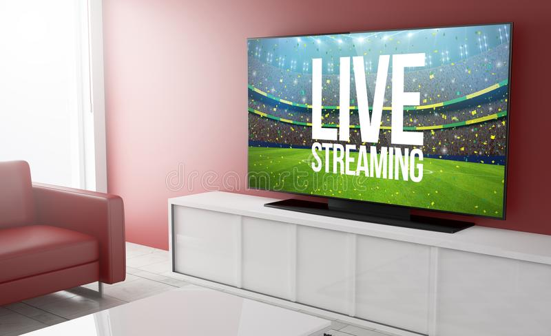Television smart live streaming. Live streaming on smart tv on a living room. 3d Rendering royalty free illustration
