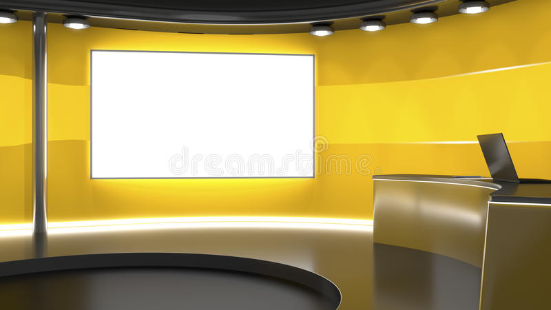 Television studio background. 3d rendering of an orange television studio background royalty free illustration