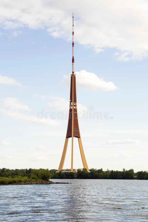 Television tower in Riga royalty free stock images