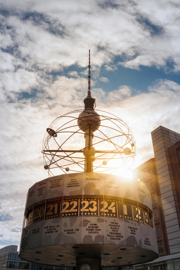Television Tower and World Clock at Alexanderplatz in Berlin, Germany royalty free stock images