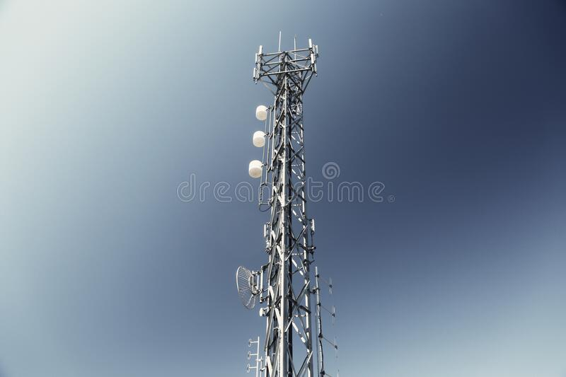 Television transmission tower stock photography