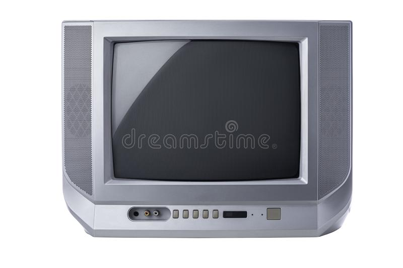 Television, Vintage portable tv with static screen isolated on white background royalty free stock image
