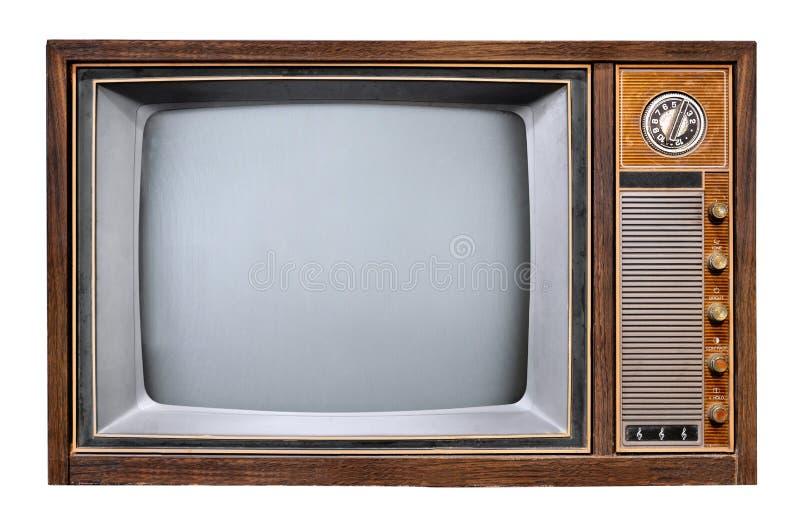 Televisione antica della scatola di legno isolata su bianco fotografia stock libera da diritti