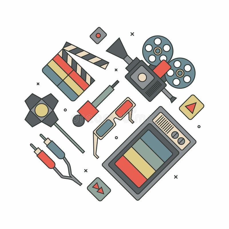 Televisione, cinema, illustrazione del profilo di vettore, insieme dell'icona, fondo bianco immagine stock