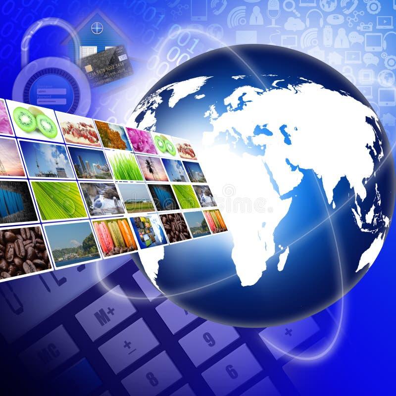 Televisione con il concetto di tecnologia di produzione di Internet immagini stock libere da diritti