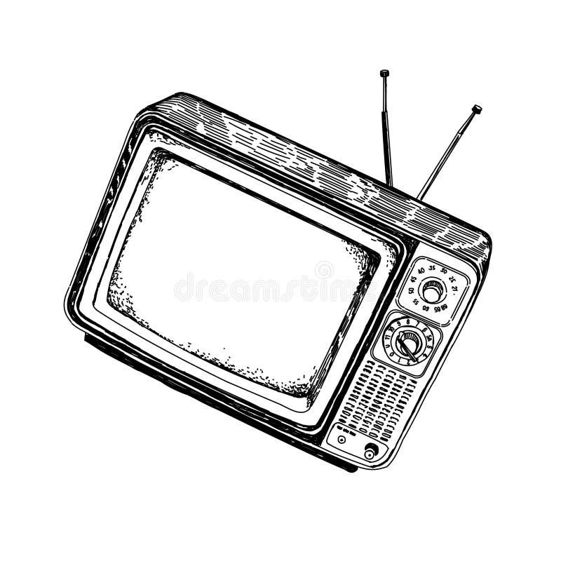 Televisione d'annata con le antenne fuori, disegnando illustrazione vettoriale