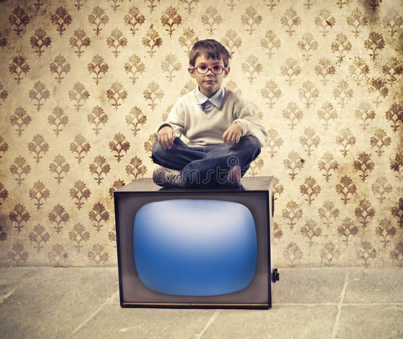 Televisione del bambino fotografia stock