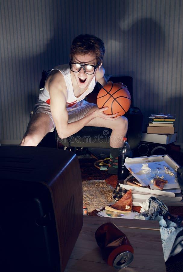 Televisione di sorveglianza del fan di pallacanestro immagine stock