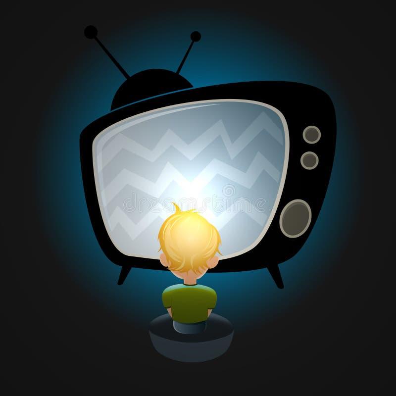 Televisione di sorveglianza del ragazzo illustrazione di stock