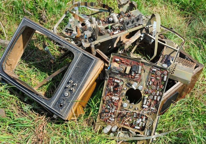 Televisione obsoleta o rotta fotografia stock libera da diritti