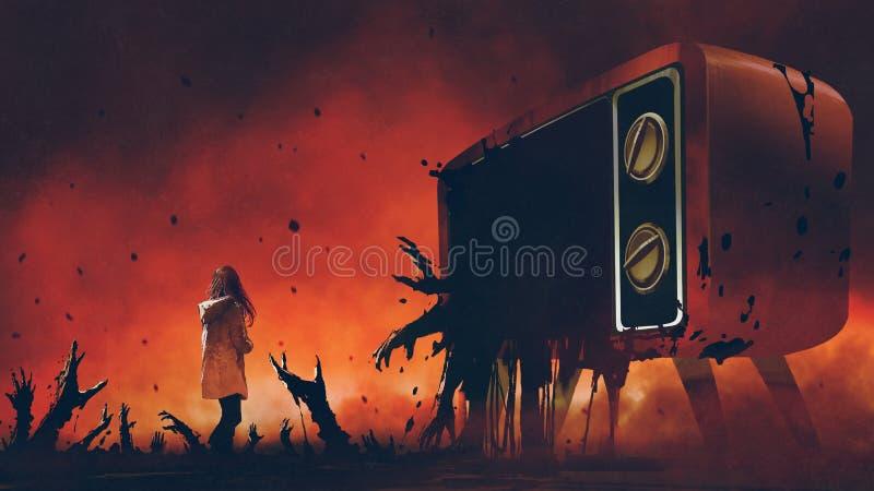 Televisionen med onda händer stock illustrationer