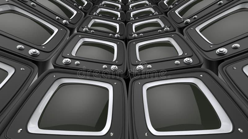 Televisiones retras negras del estilo - pared circular libre illustration