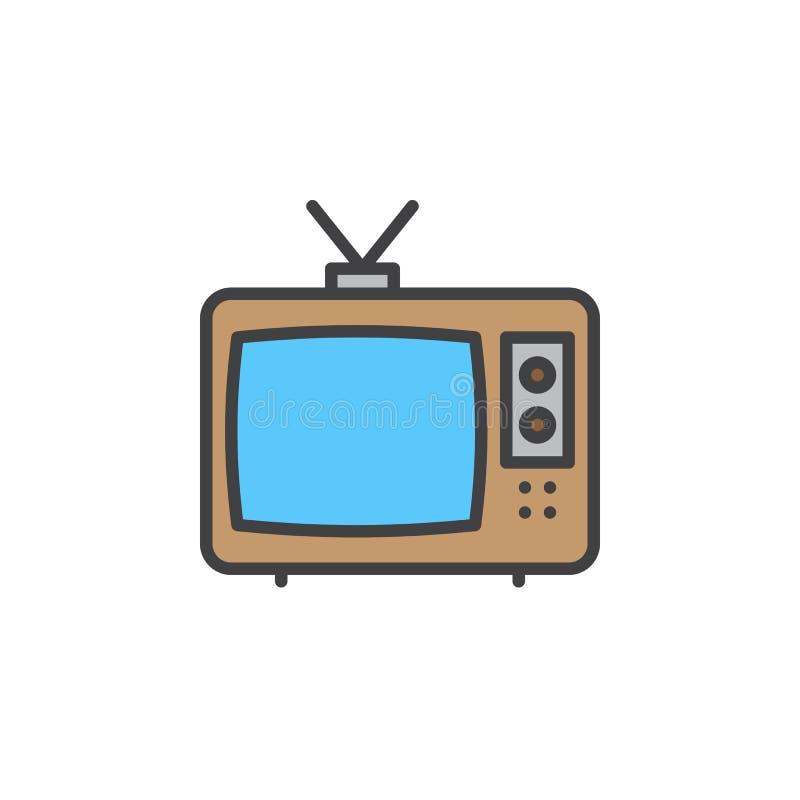 Televisionlinje symbol, fyllt översiktsvektortecken, linjär färgrik pictogram som isoleras på vit stock illustrationer