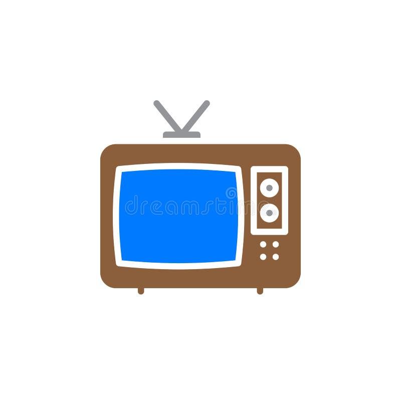 Televisionsymbolsvektor, fyllt plant tecken, fast färgrik pictogram som isoleras på vit stock illustrationer