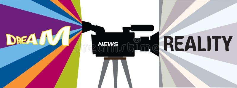 Televison Konzept - Traum gegen Wirklichkeit lizenzfreie abbildung