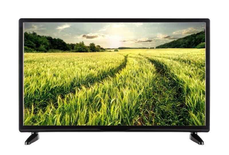 Televisor de alta definición plano con el camino en los oídos en la pantalla imagen de archivo