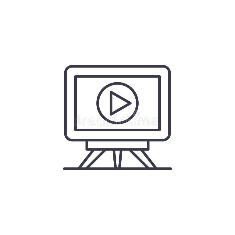 Telewizi ikony ustalony liniowy pojęcie Telewizyjny set linii wektoru znak, symbol, ilustracja ilustracja wektor