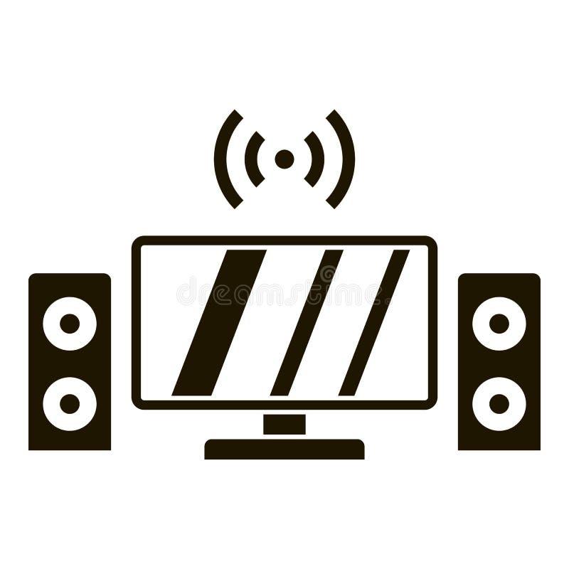 Telewizoru systemu dźwiękowego ikona, prosty styl ilustracji