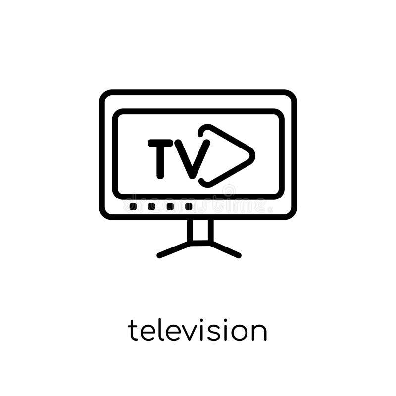 Telewizyjna ikona Modny nowożytny płaski liniowy wektorowy Telewizyjny ico ilustracji