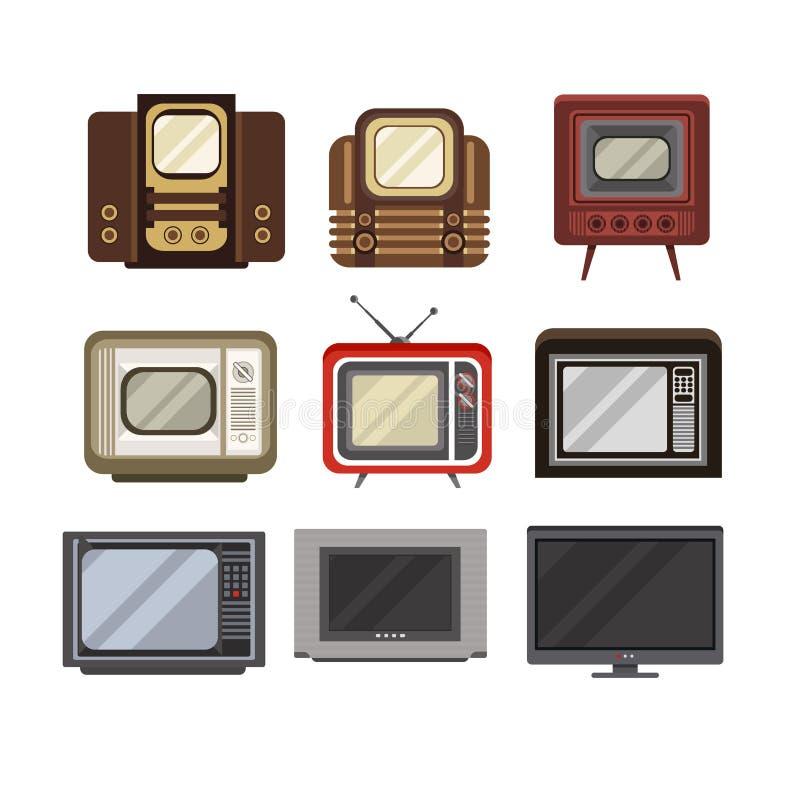 Telewizyjni odbiorcy ustawiają nowożytne wektorowe ilustracje na białym tle, TV ewolucja od przestarzałego royalty ilustracja