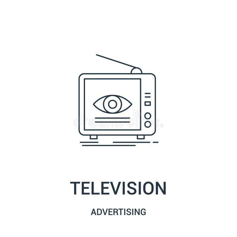 telewizyjny ikona wektor od reklamowej kolekcji Cienka kreskowa telewizyjna kontur ikony wektoru ilustracja Liniowy symbol dla uż royalty ilustracja