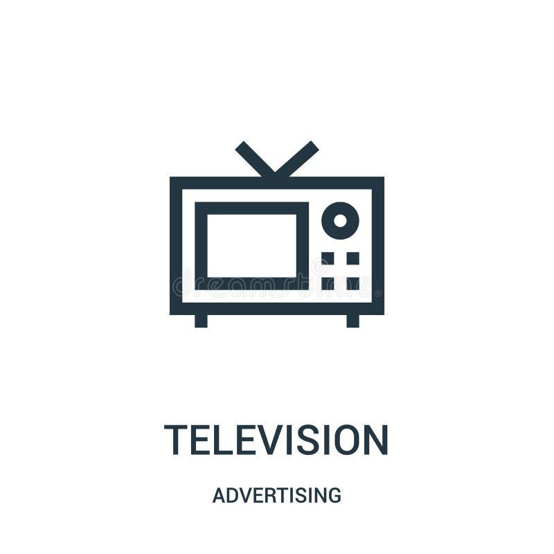 telewizyjny ikona wektor od reklamowej kolekcji Cienka kreskowa telewizyjna kontur ikony wektoru ilustracja ilustracja wektor