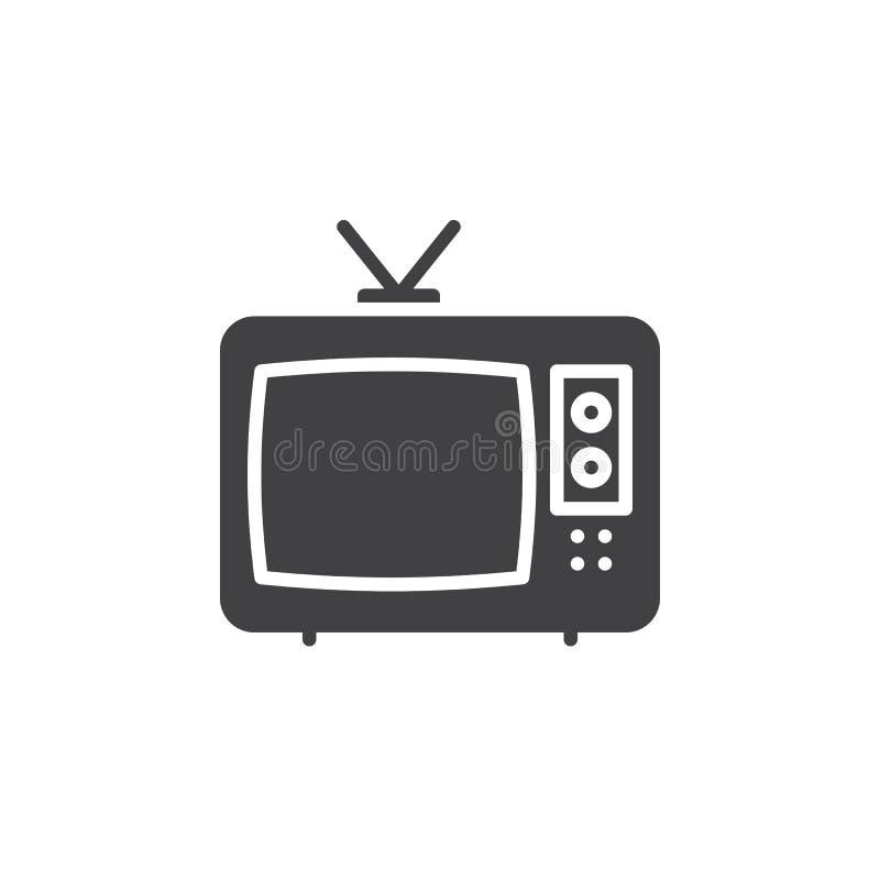 Telewizyjny ikona wektor, wypełniający mieszkanie znak, stały piktogram odizolowywający na bielu ilustracja wektor