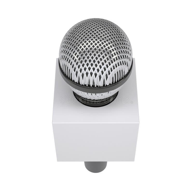 Telewizyjny mikrofon z pustym reklamowym sześcianem ilustracja wektor