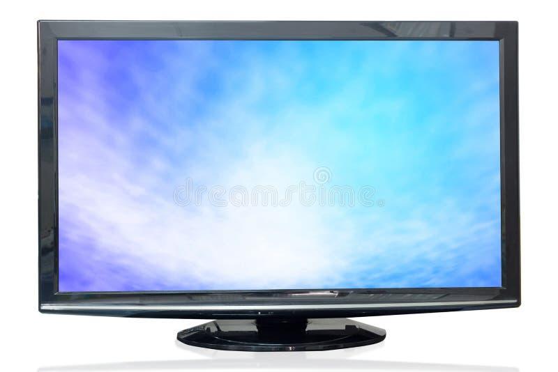 Telewizyjny monitor tekstury niebo odizolowywający na białym tle obraz royalty free