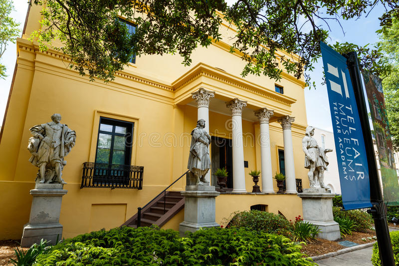Telfair Museum Savannah. Savannah, GA USA - April 25, 2016: The popular Telfair Museum in the historic district of Savannah was the first public art museum in royalty free stock photos