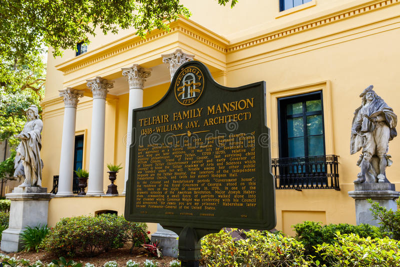 Telfair Museum Savannah. Savannah, GA USA - April 25, 2016: The popular Telfair Museum in the historic district of Savannah was the first public art museum in stock images