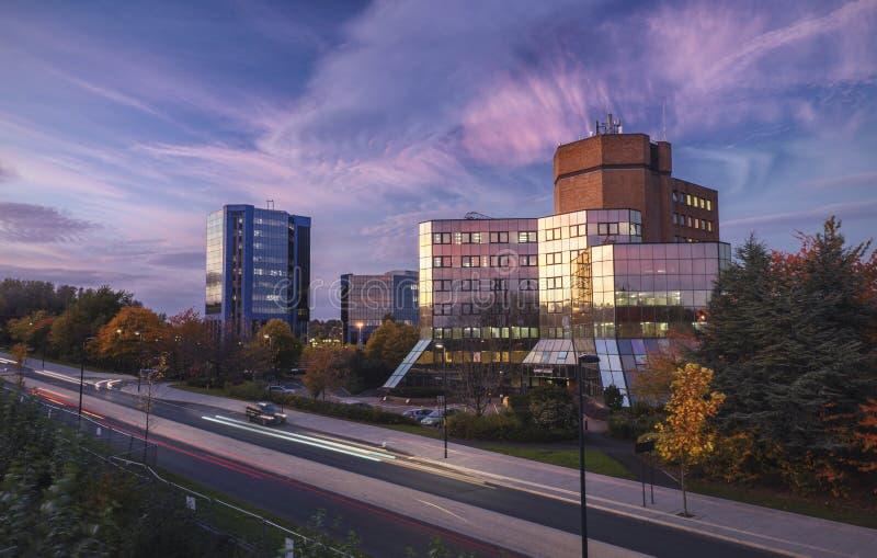 Telford Centre w Ciepłym Jesiennym świetle zdjęcia royalty free
