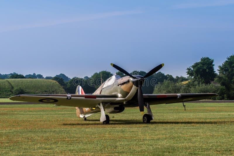 TELFORD, Reino Unido, o 10 de junho de 2018 - RAF Hawker Hurricane está na fotografia de stock royalty free