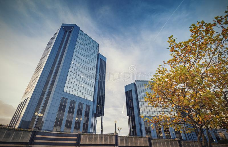 Telford Plaza Buildings in Autumn stock photography