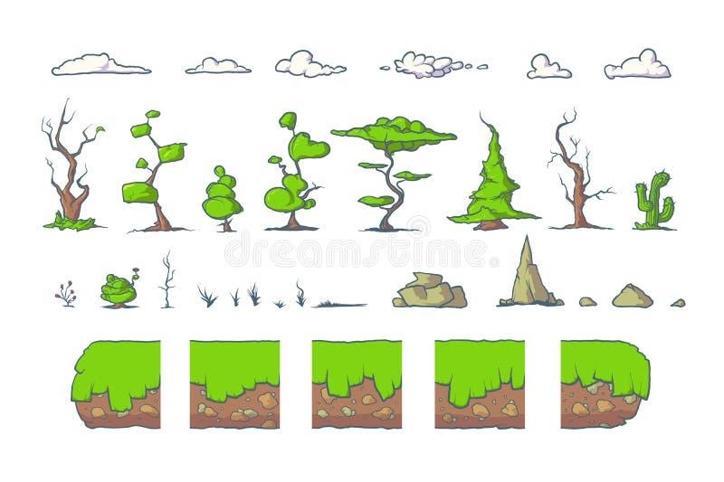 A telha ajustada para o jogo de Platformer, terra sem emenda do vetor obstrui o projeto de jogos ilustração do vetor
