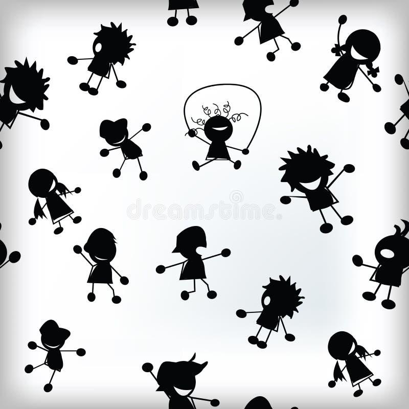 Telha com teste padrão feliz das crianças ilustração stock