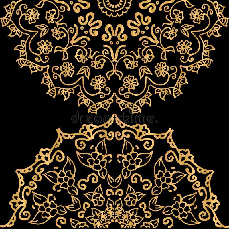 Telha da mandala com motivo floral Inclinação do ouro com brilho metálico ilustração do vetor