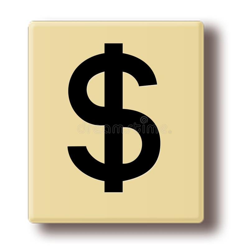 Telha de madeira do jogo com o sinal de dólar ilustração royalty free