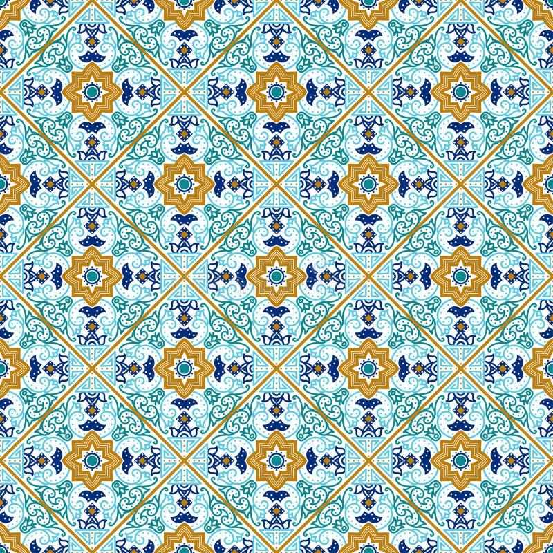 Telha de Talavera Teste padrão sem emenda mexicano vibrante, ilustração stock