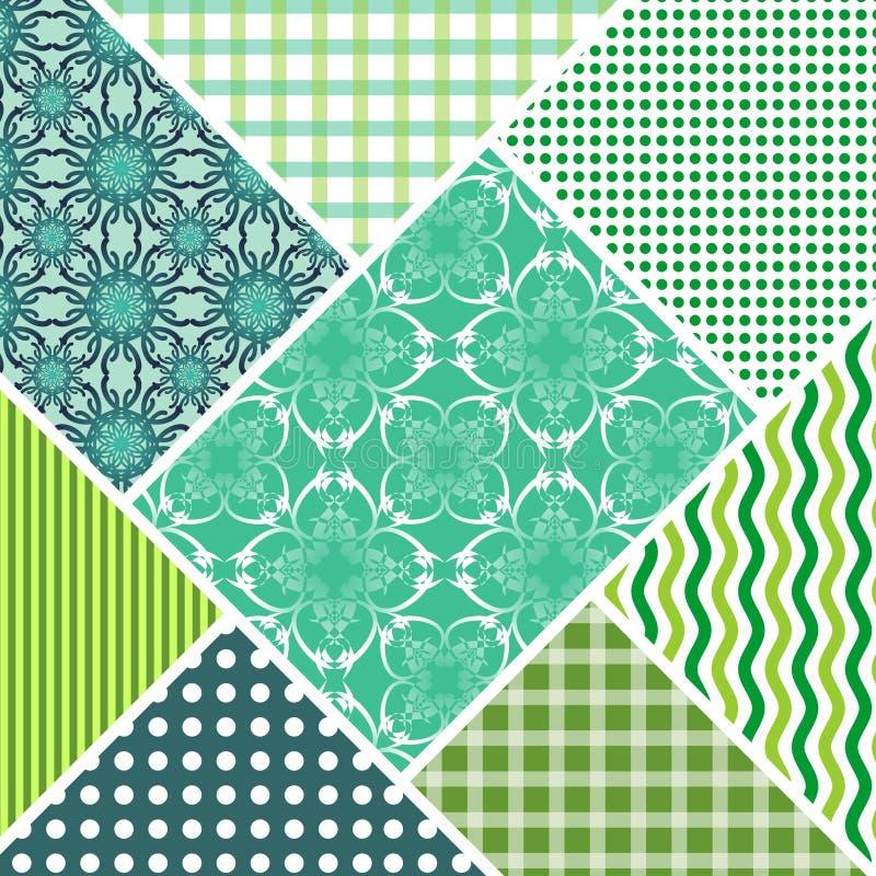 A telha decorativa do sumário do vetor dos retalhos no estilo costurou remendos de matéria têxtil com o ornamento diferente em az ilustração do vetor